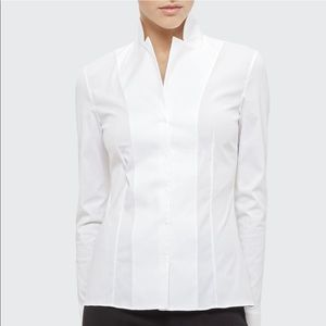 Akris Long-Sleeve Notched-Collar Poplin Blouse